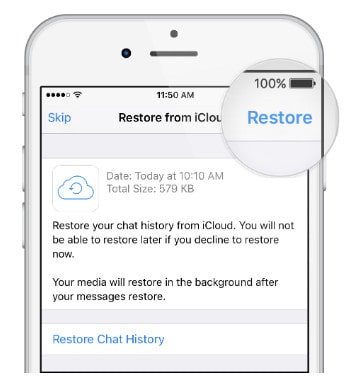 Recover from WhatsApp iCloud Backup