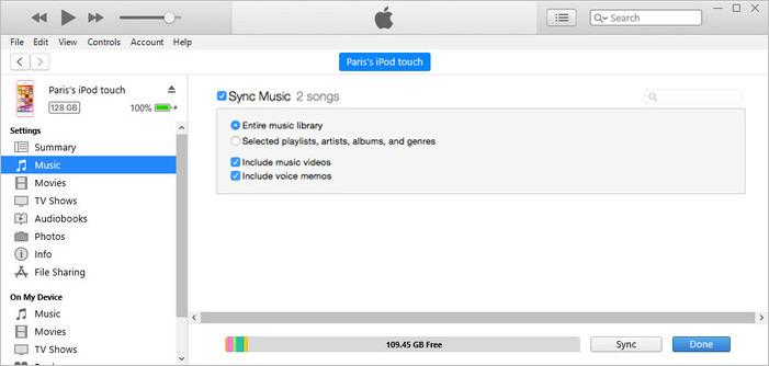 sync music from itunes to ipod touch